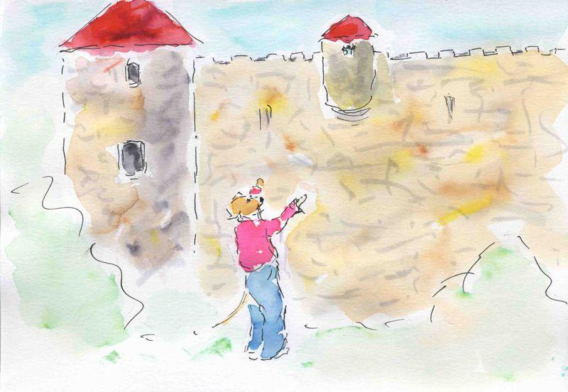 23) pied du mur