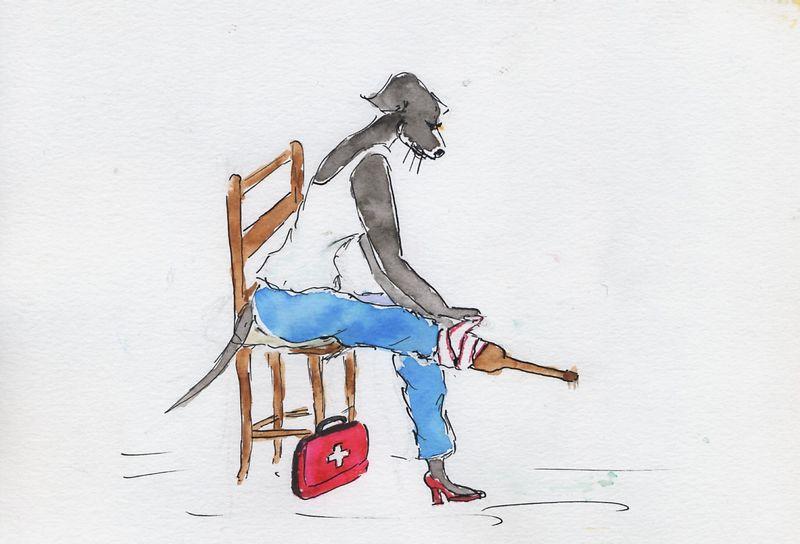 206) cautère sur jambe de bois
