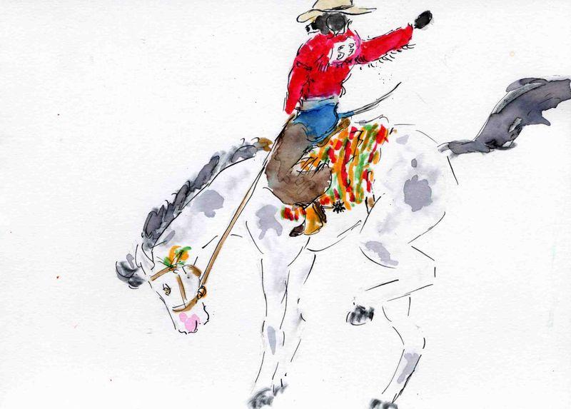 46) être à cheval
