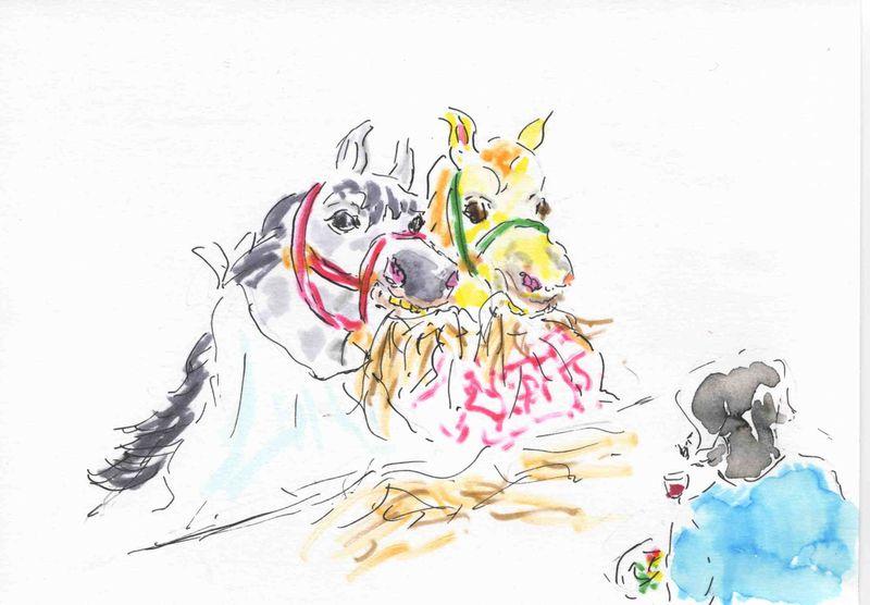5b) manger avec les chevaux de bois